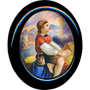 Brooch--Large Victorian Era Hand Painted Porcelain Boy in Natural Jet Oval