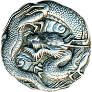 Button--Very Fine Large 19th C. Japanese Sterling Silver Lucky Dragon in Clouds--Asymmetric Border