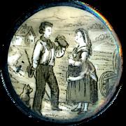 Button--Large Mid-19th C. Monochrome Porcelain Pastoral Scene and Figures