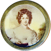 Button--Late 19th C. Lithographed Sepia Tone Celluloid in Brass Beautiful Woman--Medium