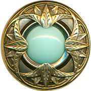 Button--Large Late 19th C. Pale Aqua Glass Jewel in Brass Nile Lotus Motif Paris Back