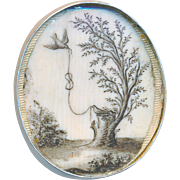 Button--Symbolic Large 18th C. Painting under Glass Reset in Modern Silver