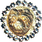 Button---Late 19th C. Extra Large 3-D Brass Cairn Terrier in Circle of Stars