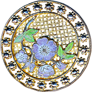 Button---Late 19th C. Large Champleve Enamel Violet Flowers and Foliage on Brass Screenback