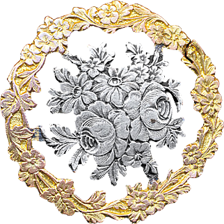Button--Late 19th C. Openwork Parcel Gilt Silver-plate Wild Rose & Floral Border