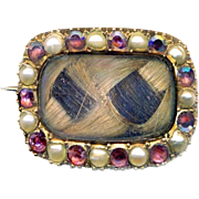 Brooch--Small Mid-Victorian Sentimental Pearls, Garnets & 18 Karat Gold with Plaited Light & Dark Hair