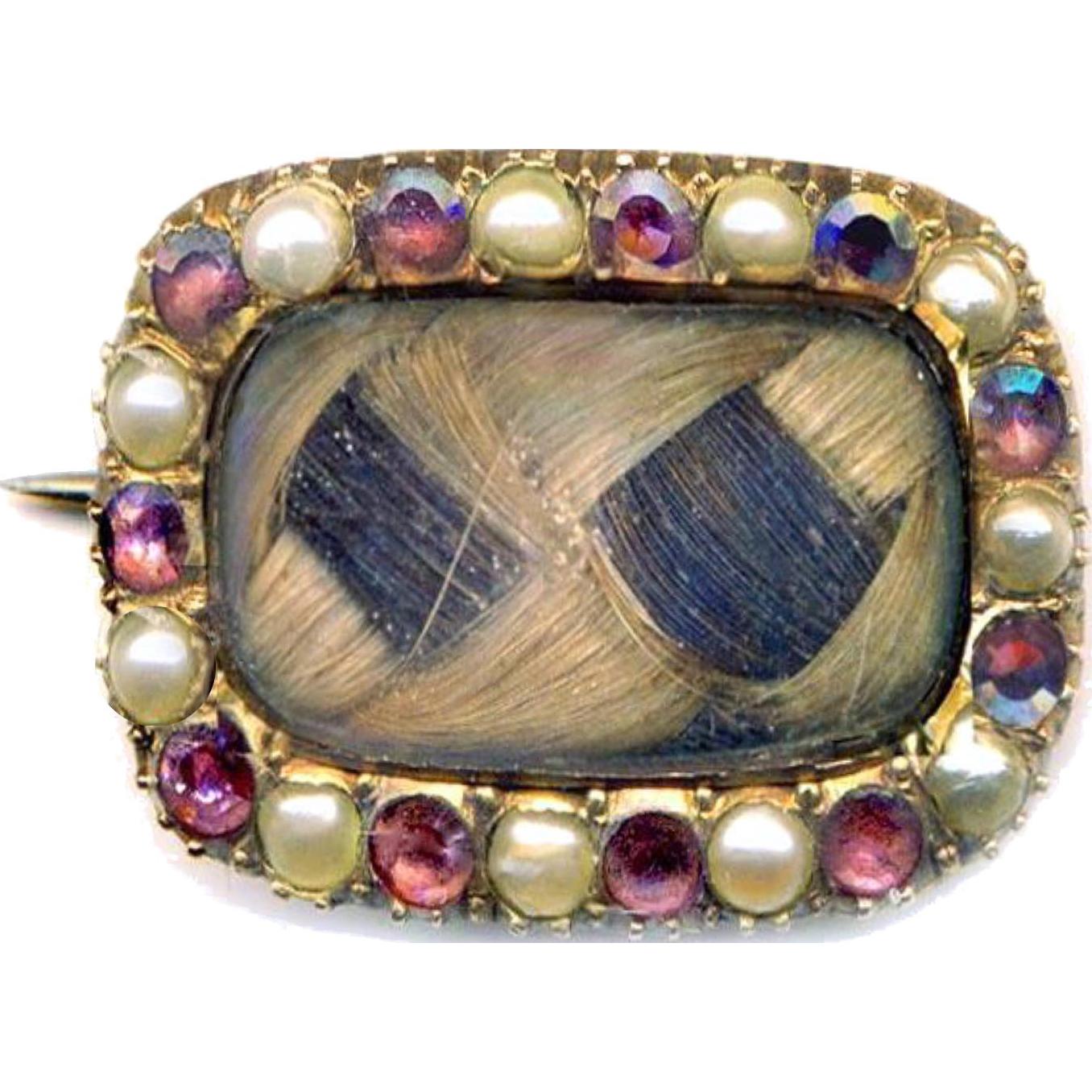 Brooch--Small Mid-Victorian Sentimental Pearls, Garnets & 18 Karat Gold with Plaited Light & Dark Hair