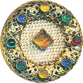 Button--Fancy Large Late 19th C. Multi-jeweled Screenback