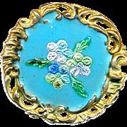 Button--Late 19th C. Rococo Brass & Embedded Foil Enamel Flowers Medium