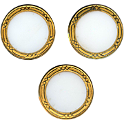 Buttons ~ 3 Big Elegant Victorian White Glass Jewels in Gilded Borders