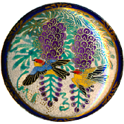 Button--Very Large 19th C. Satsuma Pottery Colorful Birds Flying In Wisteria