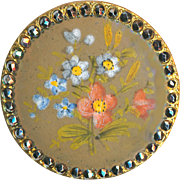 Button--Large 19th C. Hand Painted Enamel Flowers and Bright Cut Steel Border
