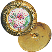 """Button--Late 19th C. """"Deep Dish"""" Hand Painted Enamel Floral in Brass"""