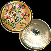 Button--Vintage Design Under Celluloid in Brass Floral Tree--Medium