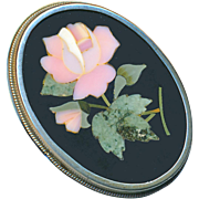 Brooch--Late 19th C. Large Pietra Dura Blown Pink Rose in Silver