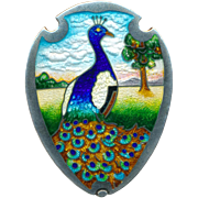 Brooch--Peacock at Sunrise Early 20th C. Chas. M. Robbins Enamel  on Silver