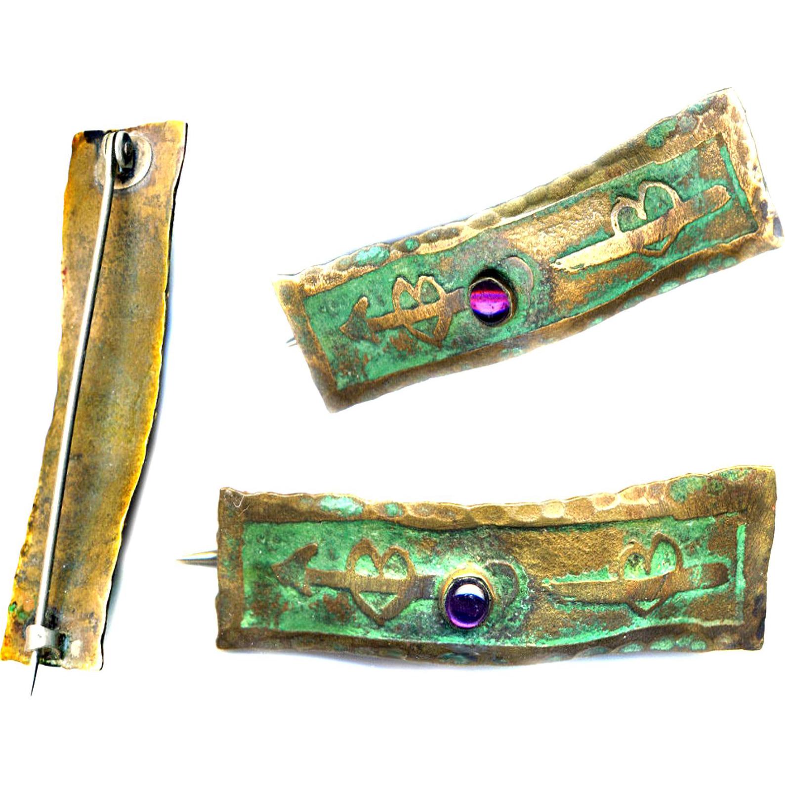 Brooch--ONE Western NY Arts & Crafts Wavy Verdigris Brass & Amethyst Bar Pin