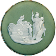 Button--Large Wedgwood Jasperware Classical Figures in Sterling Silver