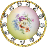 Button--Extra Large Hand Painted Transfer on Porcelain in Jeweled Brass