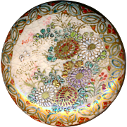 Button--Late 19th C. Satsuma Pottery Floral with Deluxe Border