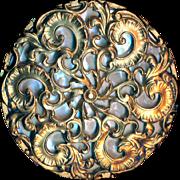 Button--Very Large 19th C. Elegant Rococo Brass Filigree Over Iridescent Pearl
