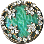 Button--Early 20th C. Jeweled Art Glass Faux Shagreen in Brass Drum--Medium