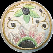 Button--Late 19th C. Large Embroidery on Linen Art Nouveau Design