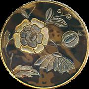 Button--Large Vintage Design Under Pressed Glass Floral in Brass