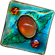 Button--Small Arts and Crafts Translucent Enamel on Silver with Carnelian Jewel