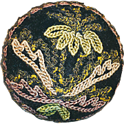 Button--Early 20th C. Chain Stitch Sparkly Needlework Floral Over Wood
