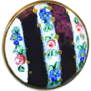 Button---Late 19th C. Uncommon Hand Painted Enamel on Purple Glass in Brass--Medium