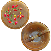 Button--Late 19th C. Pressed Amber Horn with Painted Floral Design