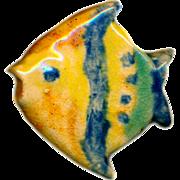 Button--Vintage Chunky Glazed Ceramic Ocean Sun Fish---SOOOOOOO Life-like