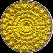 Button--Brilliant SPARKLER Vintage Gold Foil Target Under Glass in Brass