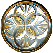 Button--Large Paris Late 19th C. Quatrefoil Carved and Gilded Pearl in Brass