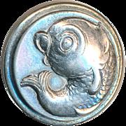 Button--Vintage Hard White Pewter Googly-eyed Fish--Medium