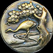 Button--Modern Japoniste Style Stamped Brass Crane at Water Edge--Medium