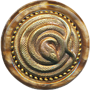 Button--Pile of Snake Vintage Copper on Plastic --Coiled Cobra