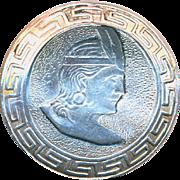 Button--Vintage Peruvian Inca Chief in Sterling Silver & Greek Key Border