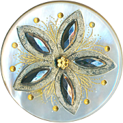 Button--Large 19th C. Engraved, Gilded, Steel & Brass Trimmed Pearl Florette