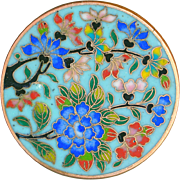Button--Exquisite Quality 19th C. Chinese Cloisonne Enamel Flowering Tree in Heavy Brass