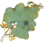 Brooch--Very Large Vintage 18 Karat Gold, Jade, and Pearl Leaf