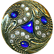 Button--Large Early 20th C. Glass Jewels in Brass Trefoil Paisley