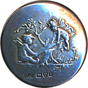 Button--English Sterling Winged Cherubs on Seesaw--Medium