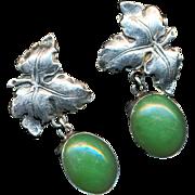 Earrings--Vintage Sterling Silver Leaves & Jade Drops