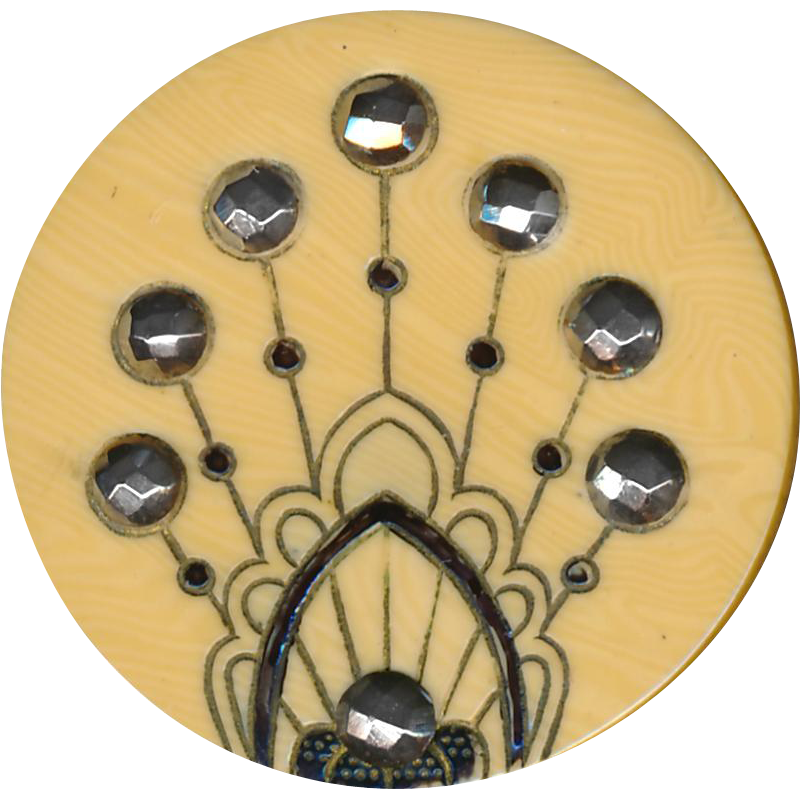 Button--Large Early 20th C. Aesthetic Art Nouveau Black Incised Ivorine Celluloid with Mirror-bright Cut Steels