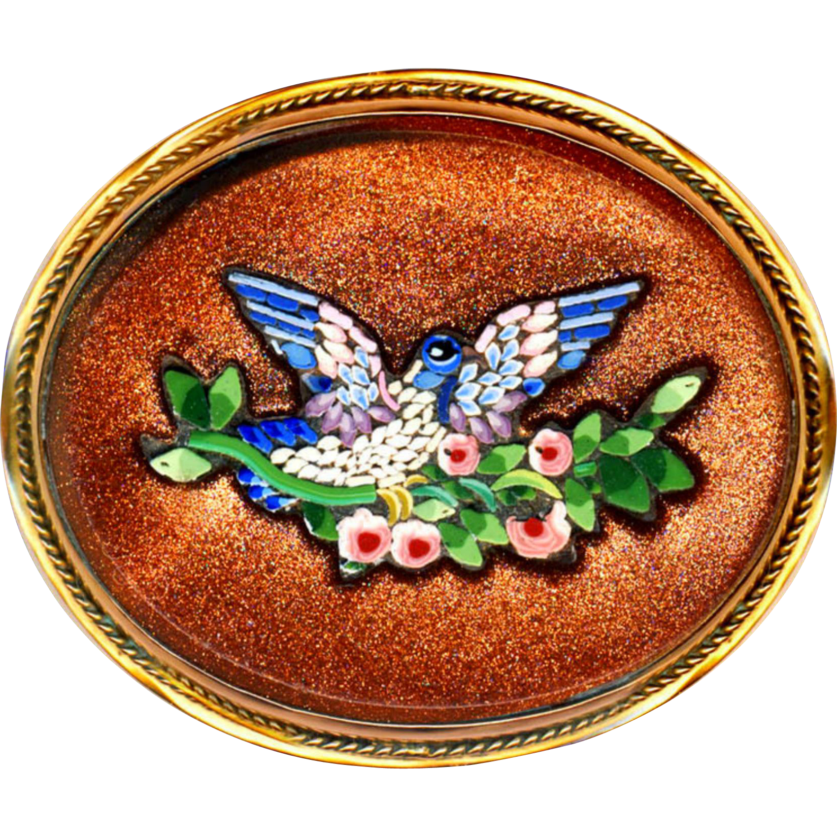 Brooch--Large Late 19th C. Micromosaic Blue Bird in Roses in 14 Karat Gold Mounting