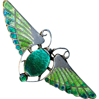 Brooch--Early 20th C. Charles Horner Egyption Revival Enamel Flying Bug in Sterling