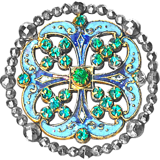 Button--Large 19th C. Cut Steel Bordered Jeweled Quatrefoil Enamel on Brass