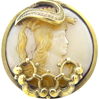 Button--Unusual Late 19th C. Custard Glass Minerva in Drum Sided Brass with Overlay